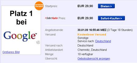 platz 1 in google bei ebay kaufen