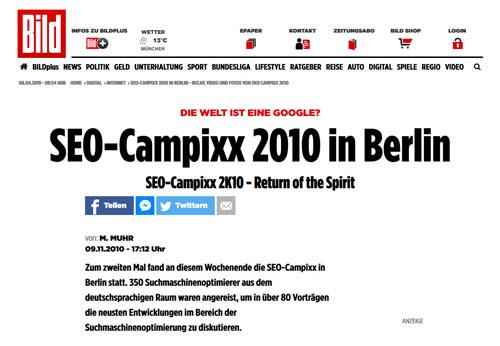 BILD – Bericht über die SEO-Campixx 2010