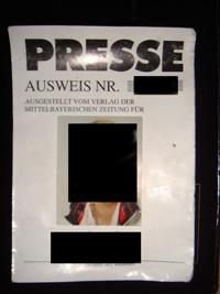 Presseausweis der Mittelbayerischen Zeitung