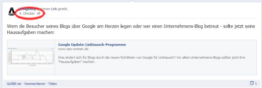 facebook status url link finden schritt 1