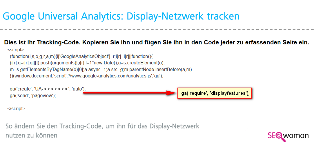 Google Universal Analytics Tracking Display-Netzwerk