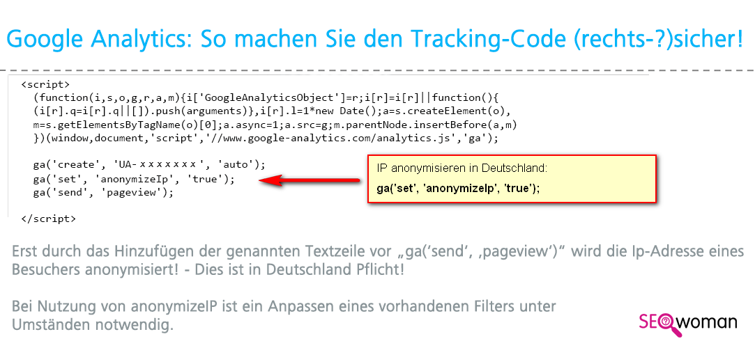 Google Universal Analytics Tracking IP verschleiern