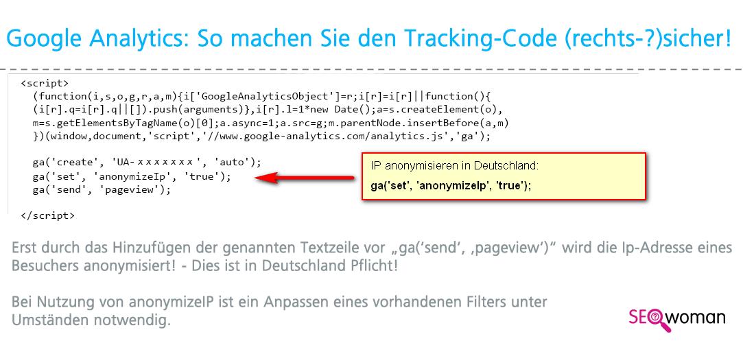 Google Universal Analytics Tracking Code (rechts-?) sicher einbauen