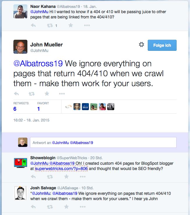 Google ignoriert Links auf 404-Seiten