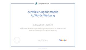 Alexandra Lindner Google Prüfung AdWords Mobile Werbung