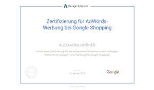 Alexandra Lindner Google Prüfung Shopping