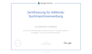 Alexandra Lindner Google Prüfung AdWords Suchmaschinenwerbung