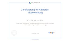 Alexandra Lindner Google Prüfung AdWords Videowerbung (YouTube)