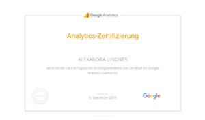 Alexandra Lindner Google Prüfung Analytics