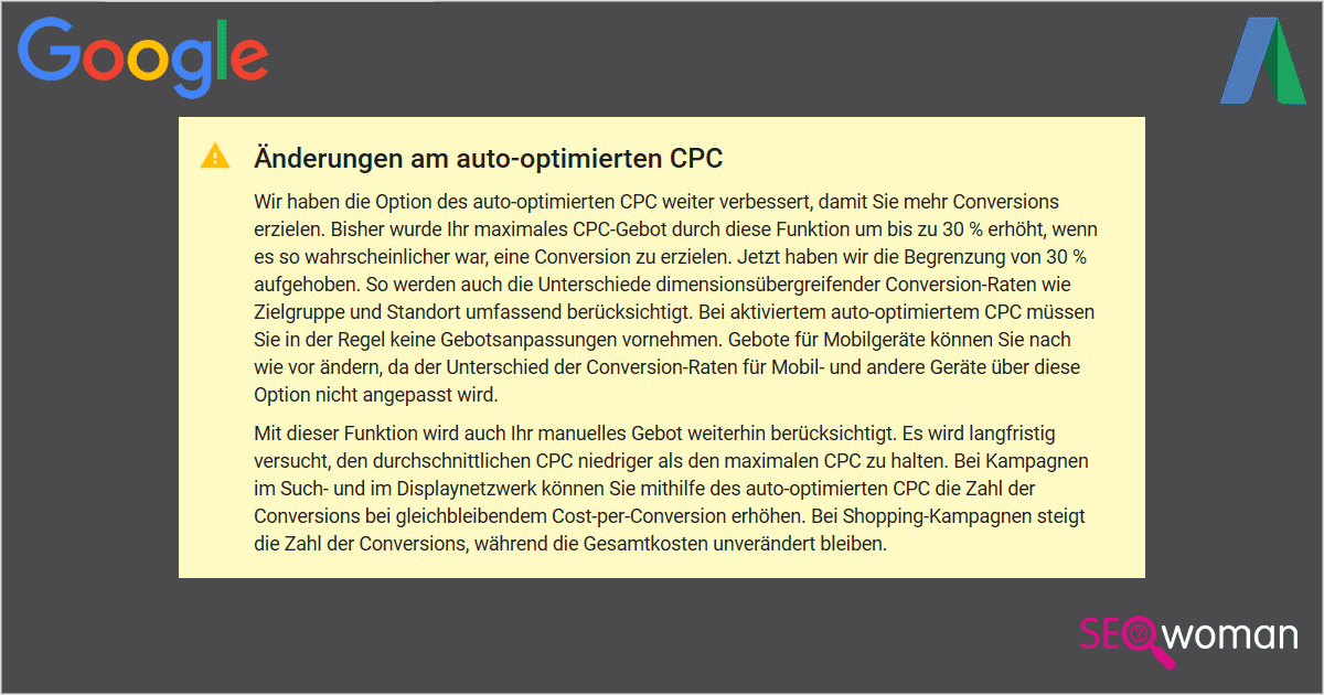 Google AdWords Auto-optimierter CPC Begrenzung