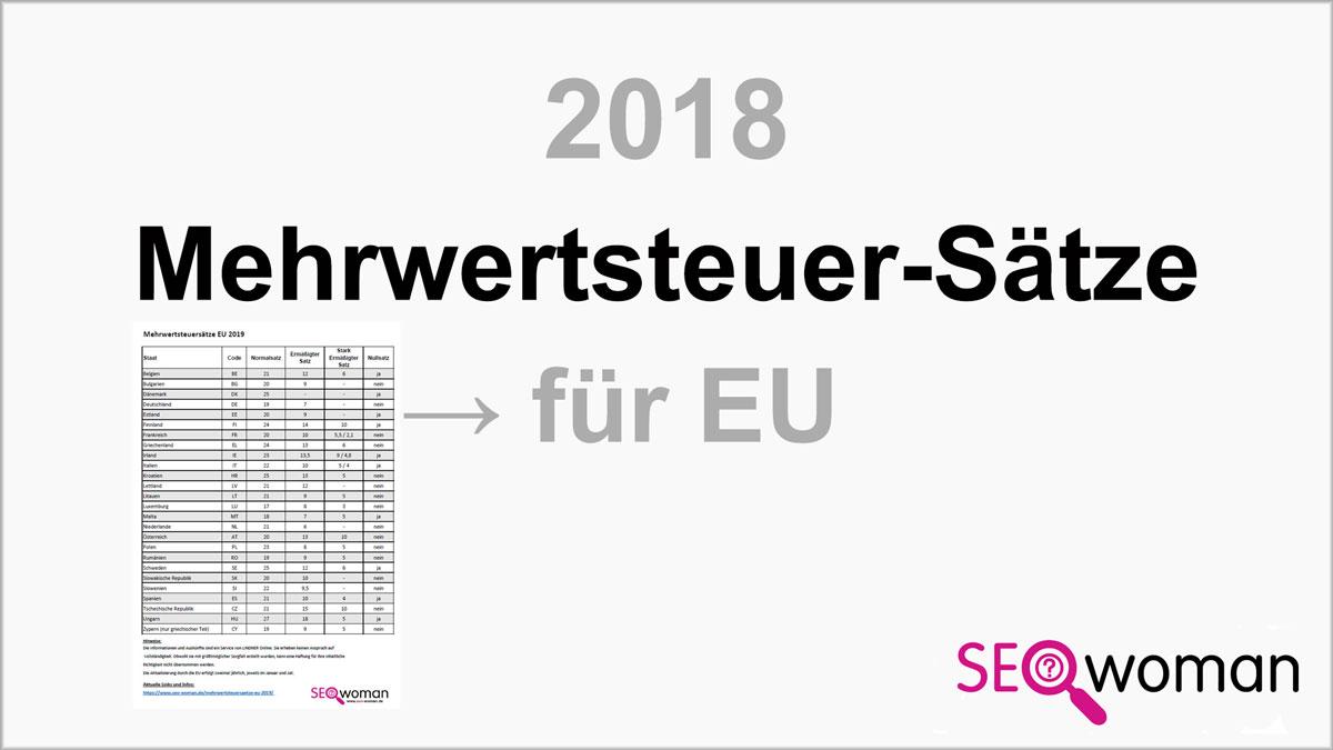 Mehrwertsteuersätze EU 2018