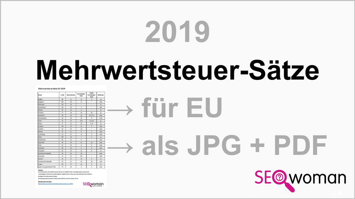 Mehrwertsteuersätze EU 2019