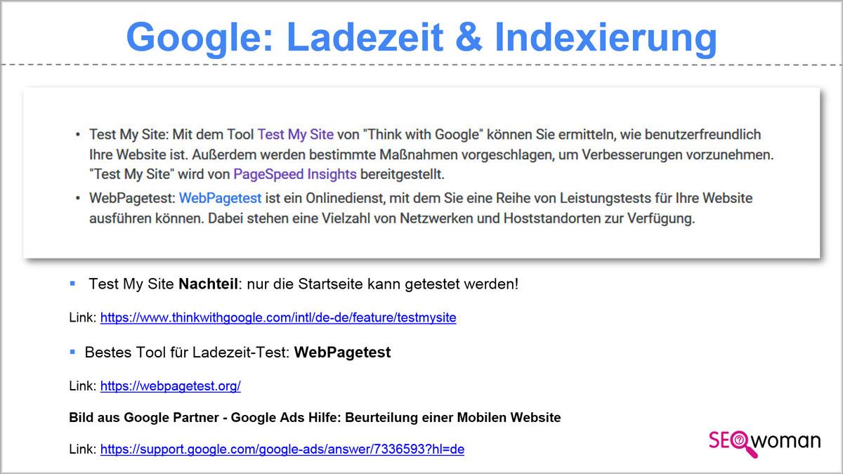 Google Ladezeit Tools