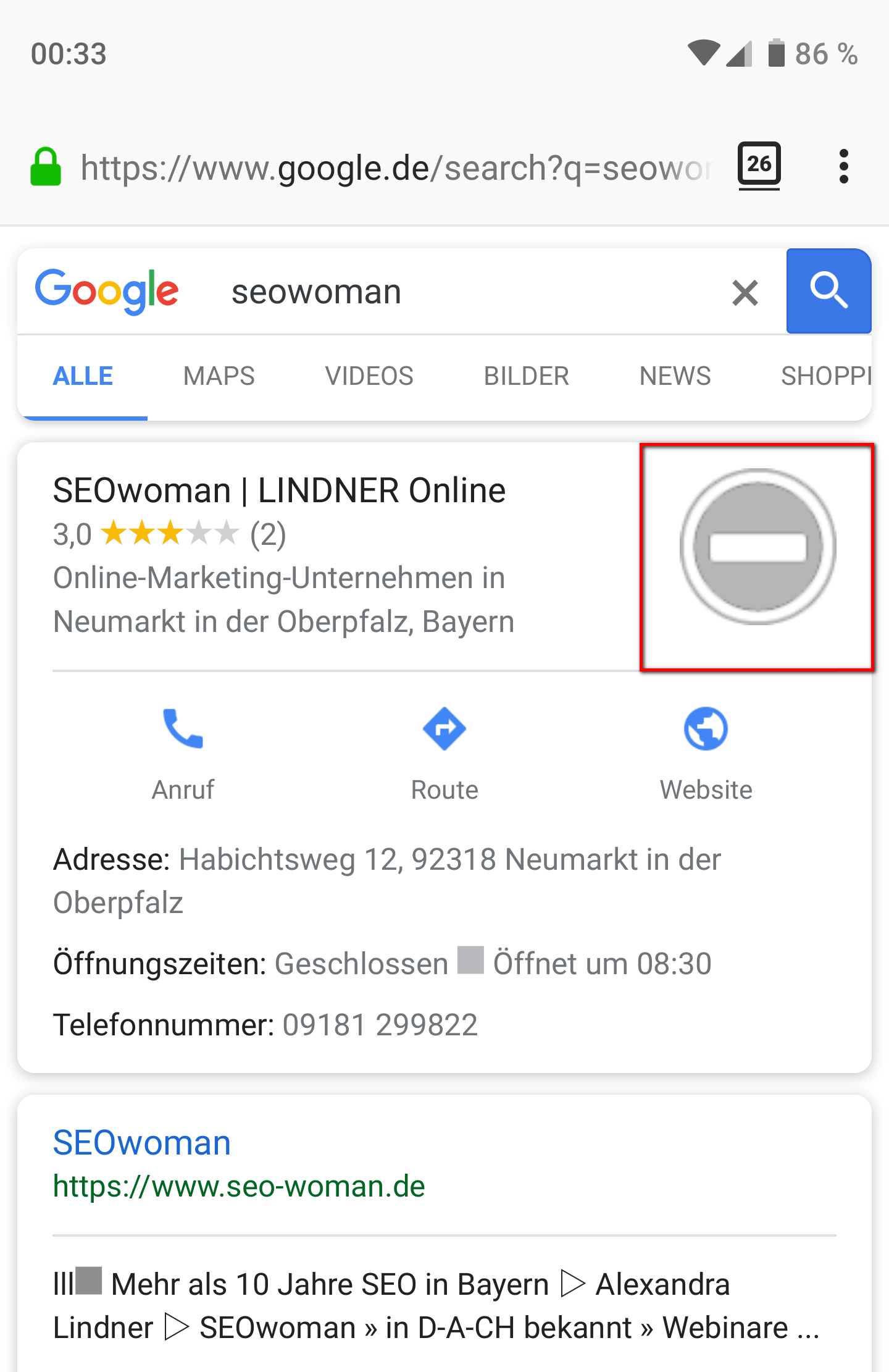 Google My Business Bilder gelöscht - Mobile