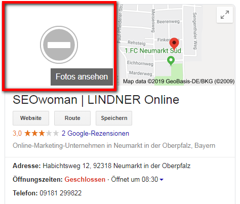 Google My Business Bilder gelöscht