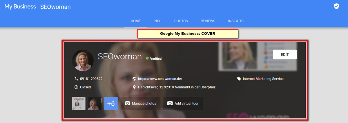 Google My Business Hintergrundbild 2018