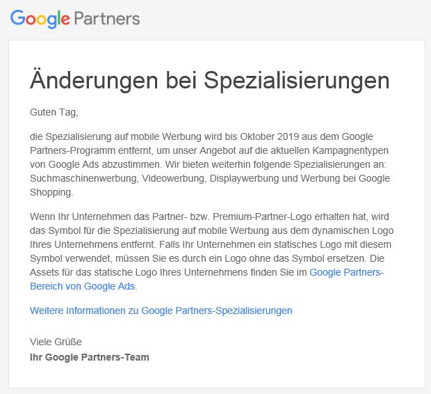Google Partners entfernt Mobile Werbung