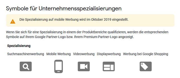 Google Partners Unternehmensspezialisierungen