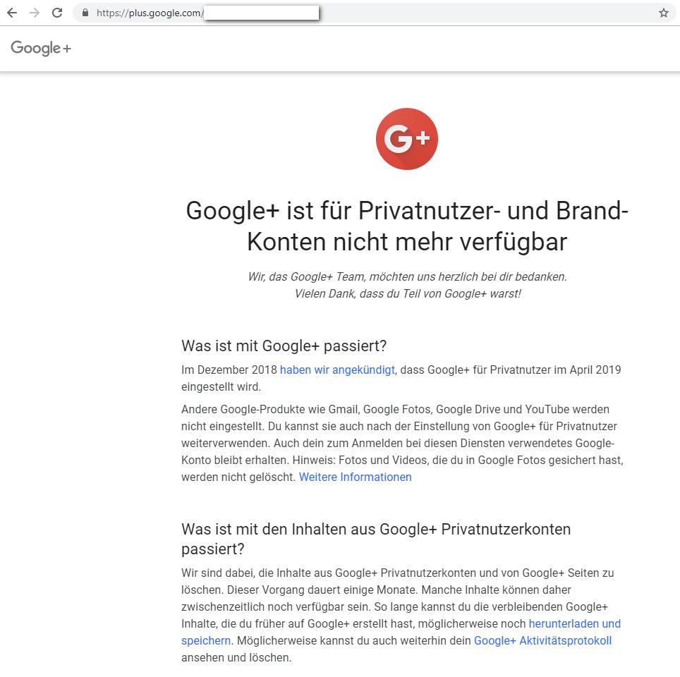 Google Plus ist tot