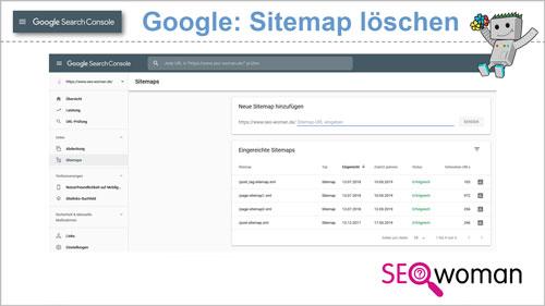 Google Search Console Sitemap löschen