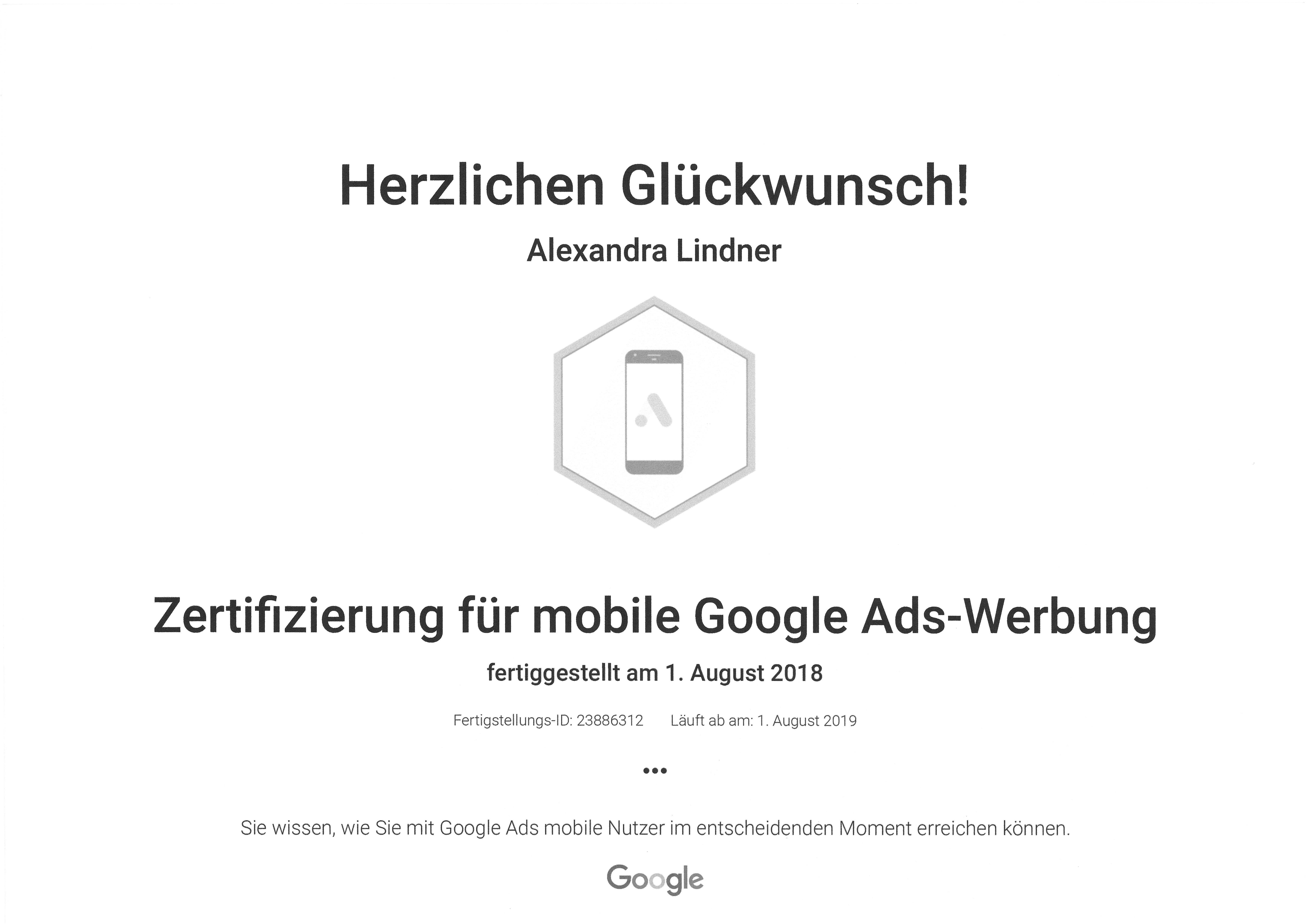 Original: Google Ads Mobile Werbung Zertifikat 2019