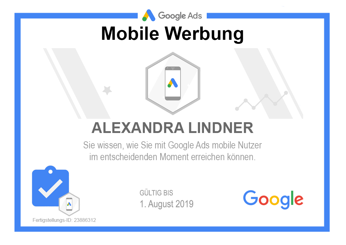 Private Version: Google Ads Mobile Werbung Zertifikat