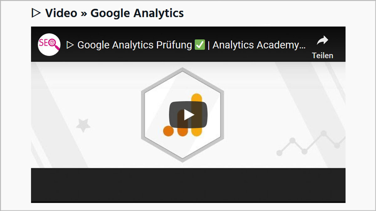 Video Google Analytics Prüfung