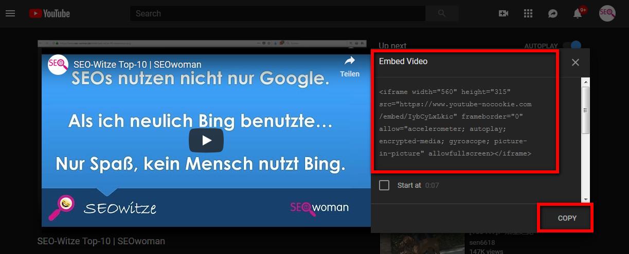 YouTube Video Quellcode
