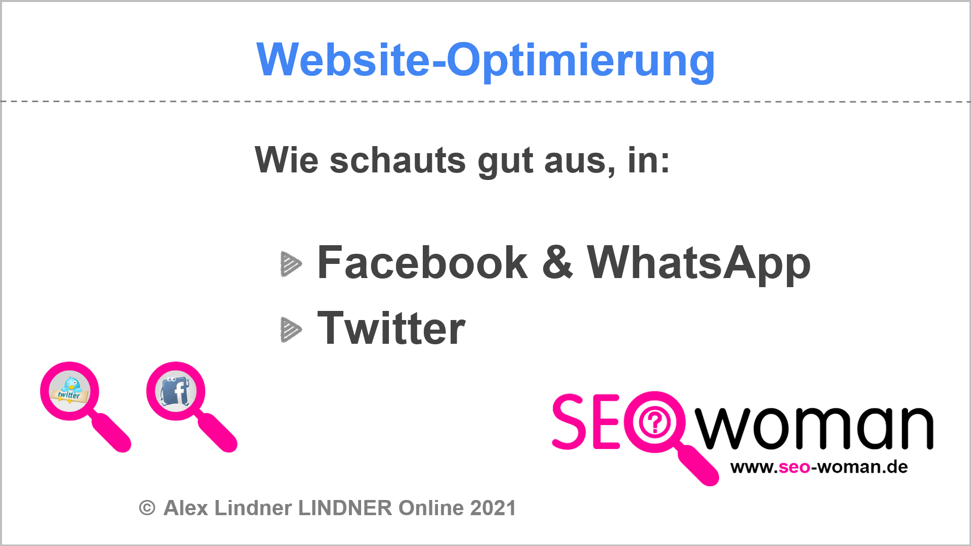 WordPress optimieren - Facebook Twitter WhatsApp