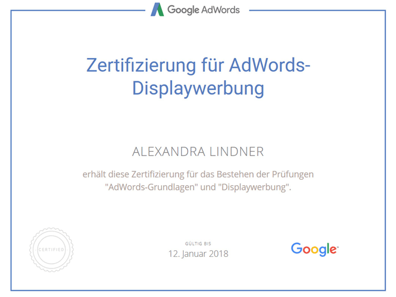 Zertifikat Google AdWords Displaywerbung 2017