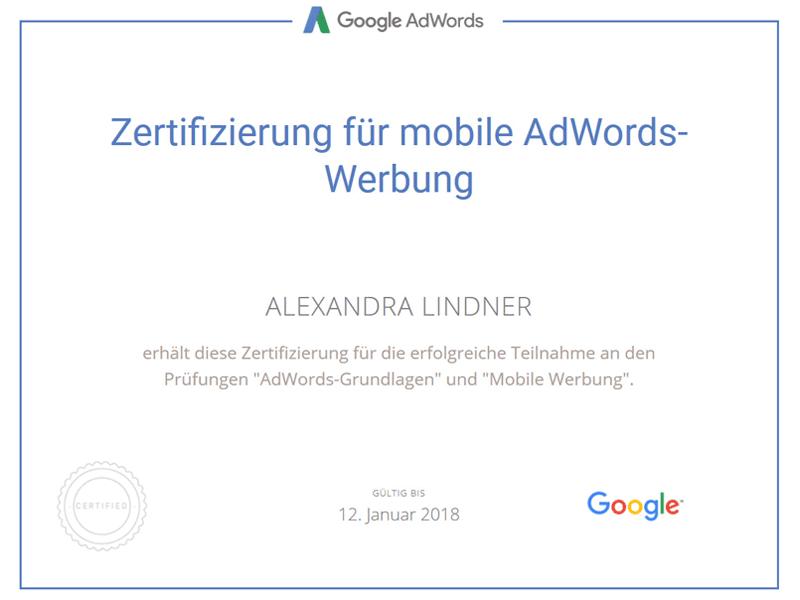 Zertifikat Google AdWords Mobile Werbung 2017