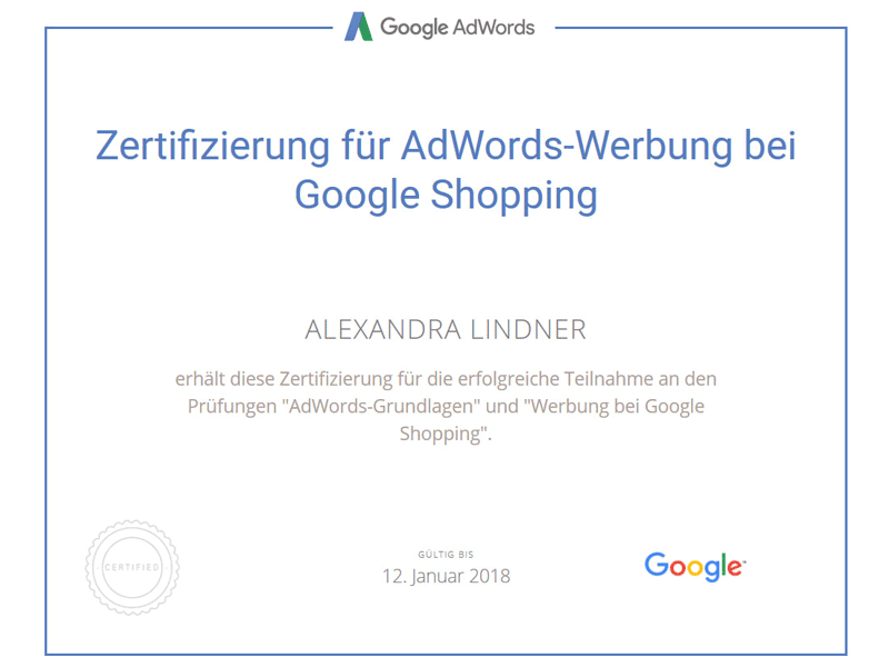 Zertifikat Google AdWords Shopping 2017