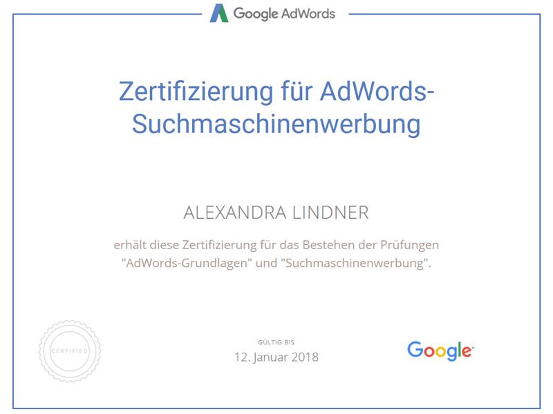 Google AdWords Suchmaschinenwerbung Zertifikat 2017