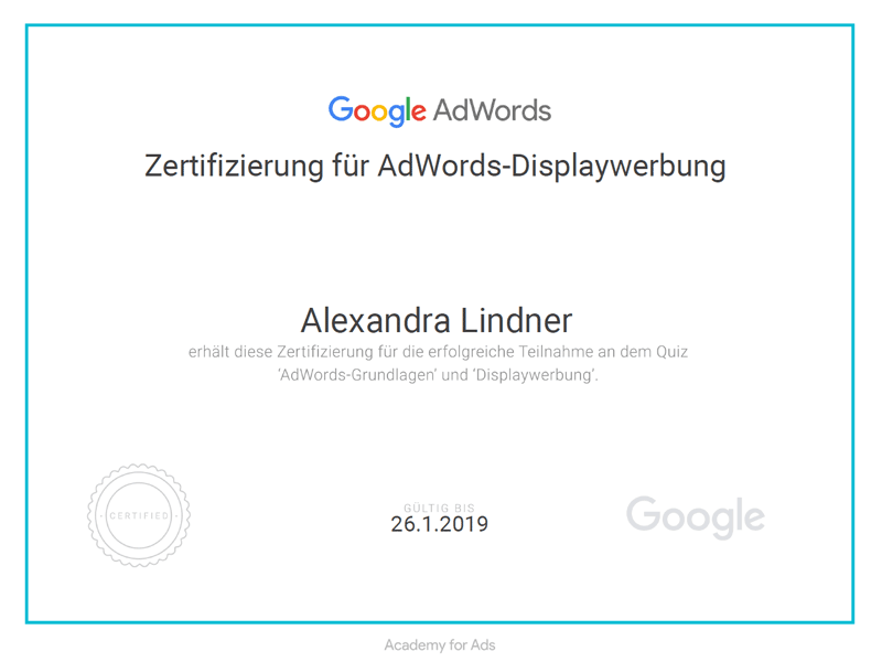 Zertifikat Google AdWords Displaywerbung 2018