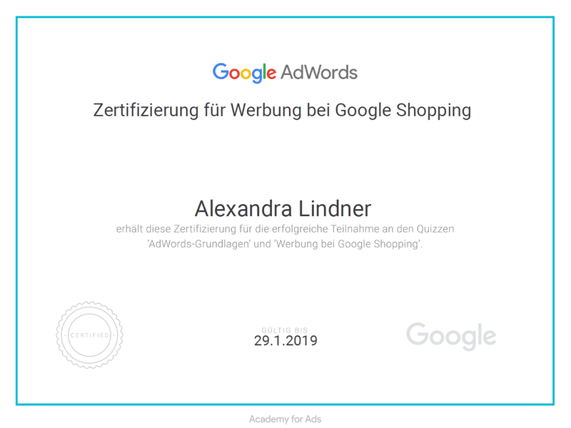 Zertifikat Google AdWords Shopping 2018