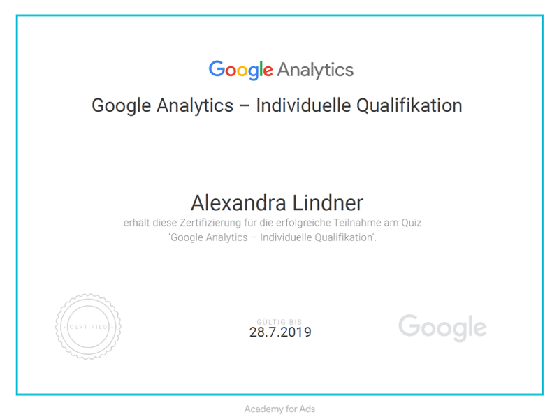 Zertifikat Google Analytics 2018