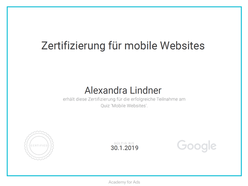 Google Mobile Websites Zertifikat 2018