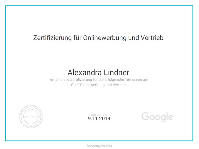 Google Onlinewerbung + Vertrieb Zerfitikat 2018