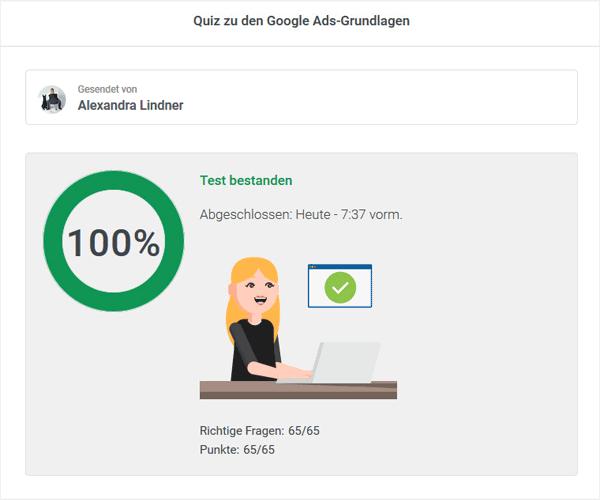 Google Ads Prüfung bestanden