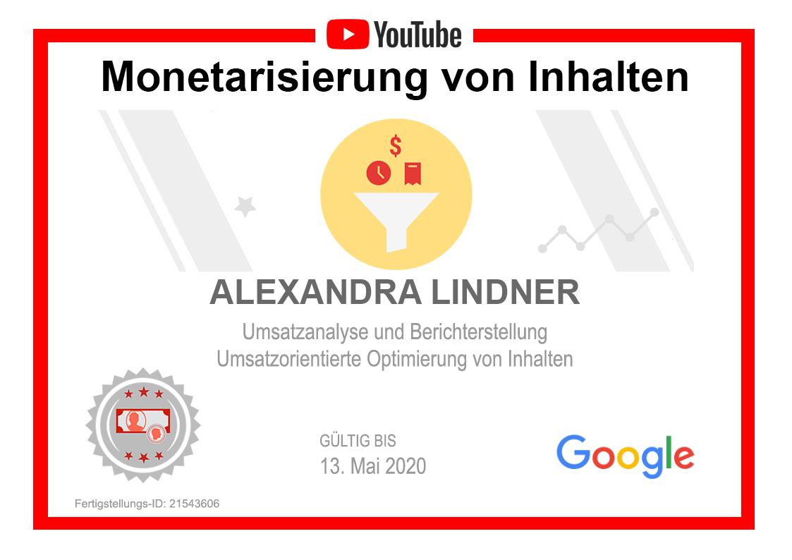 Zertifikat YouTube Monetarisierung von Inhalten selbst gebaut