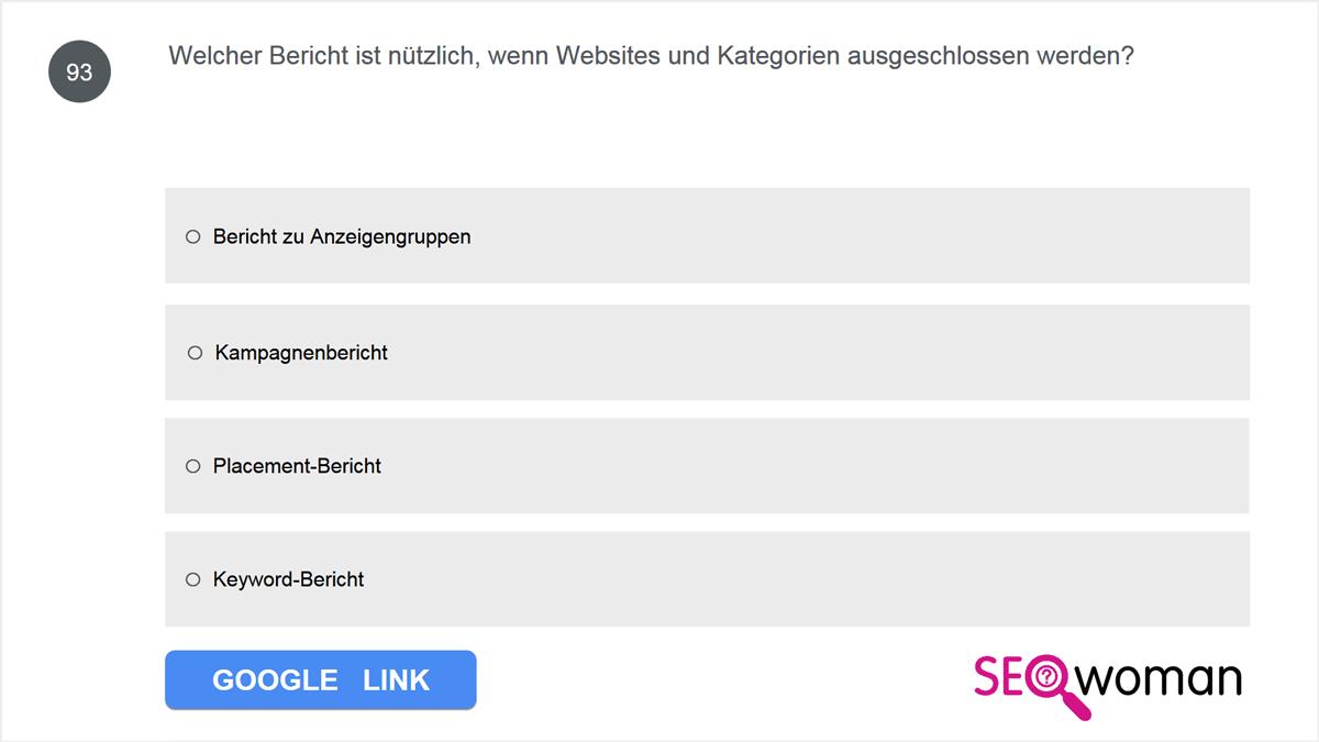 Welcher Bericht ist nützlich, wenn Websites und Kategorien ausgeschlossen werden?