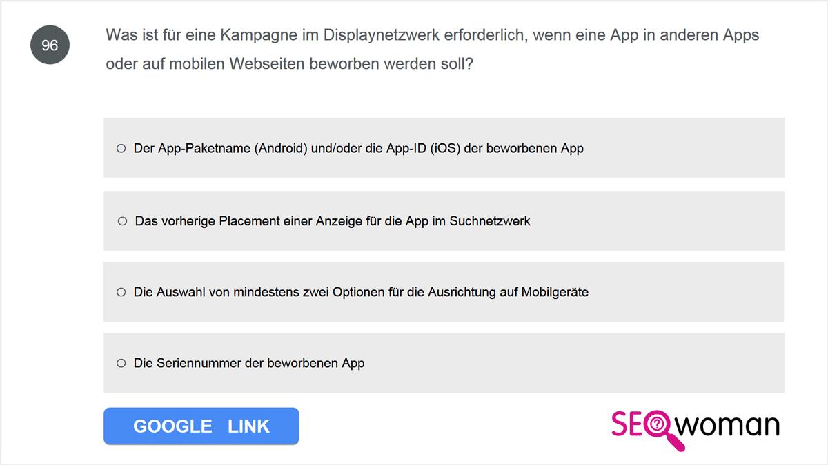 Was ist für eine Kampagne im Displaynetzwerk erforderlich, wenn eine App in anderen Apps oder auf mobilen Webseiten beworben werden soll?