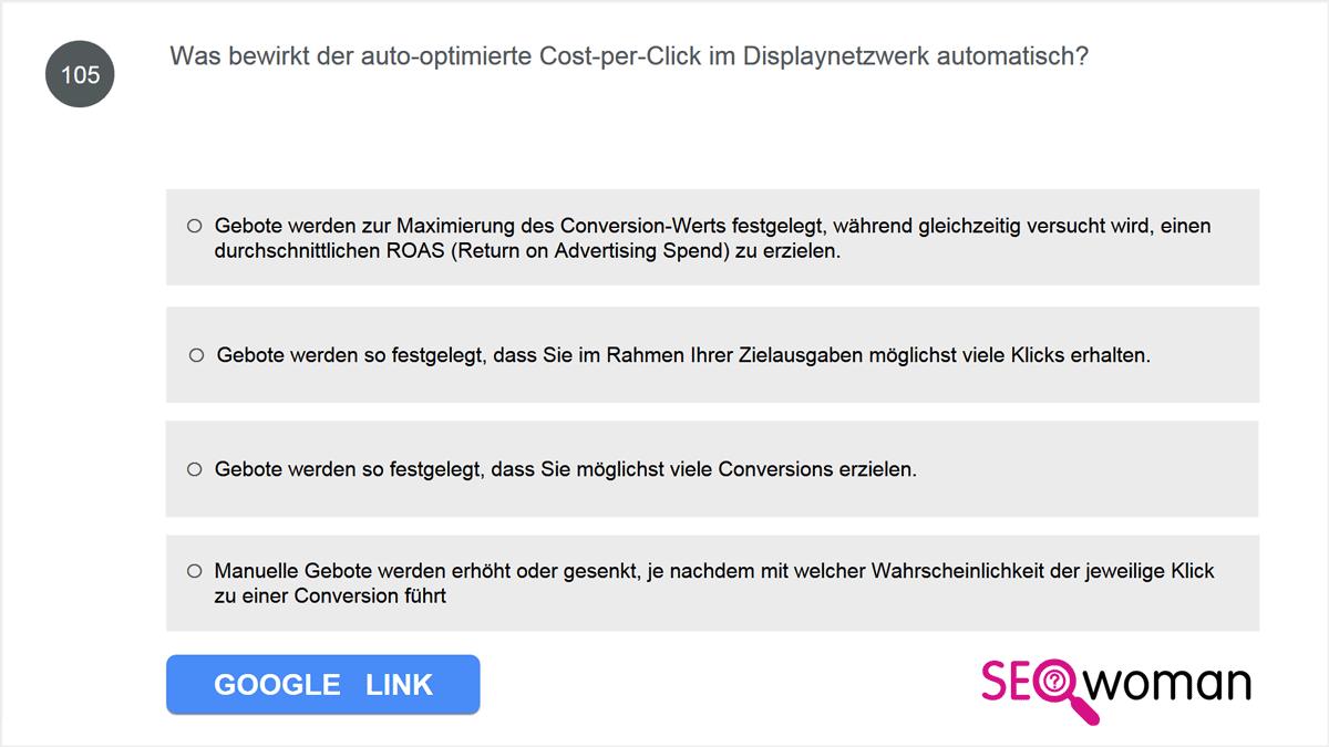 Was bewirkt der auto-optimierte Cost-per-Click im Displaynetzwerk automatisch?