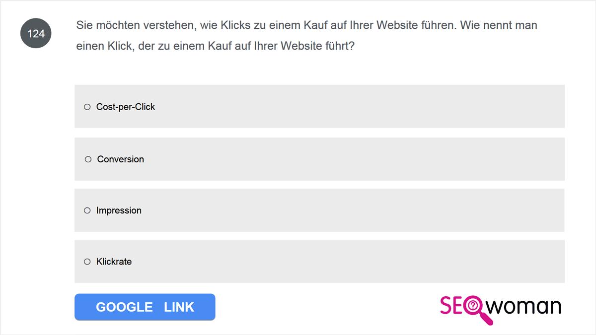 Sie möchten verstehen, wie Klicks zu einem Kauf auf Ihrer Website führen. Wie nennt man einen Klick, der zu einem Kauf auf Ihrer Website führt?