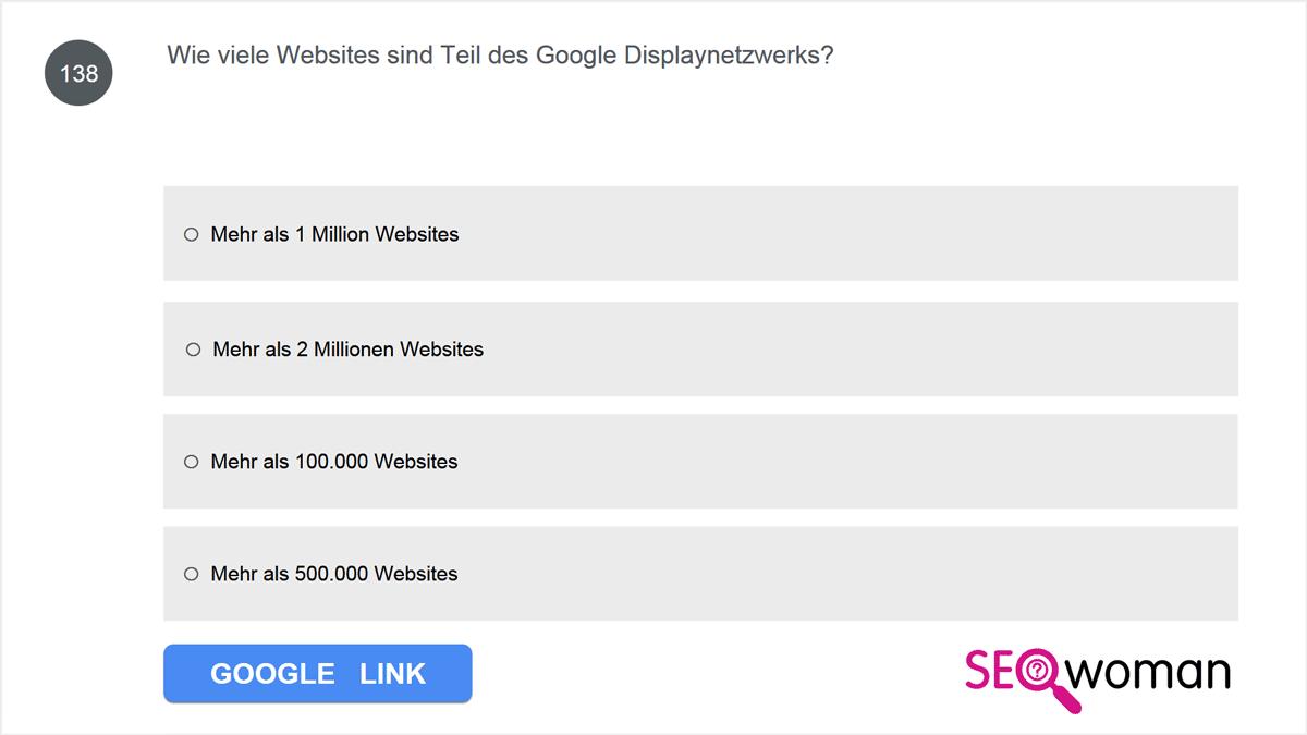 Wie viele Websites sind Teil des Google Displaynetzwerks?