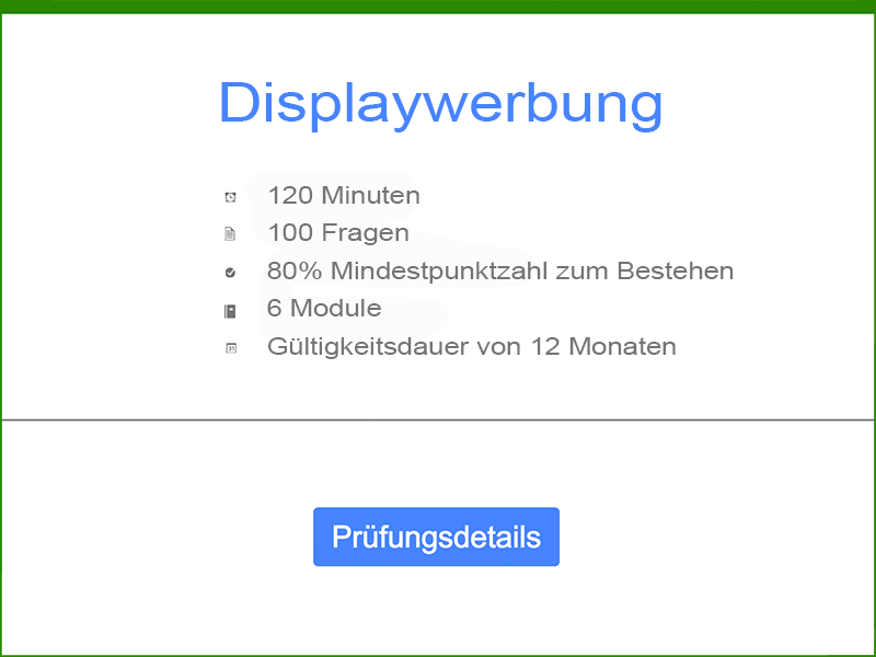 Informationen: Google AdWords Displaywerbung Prüfung