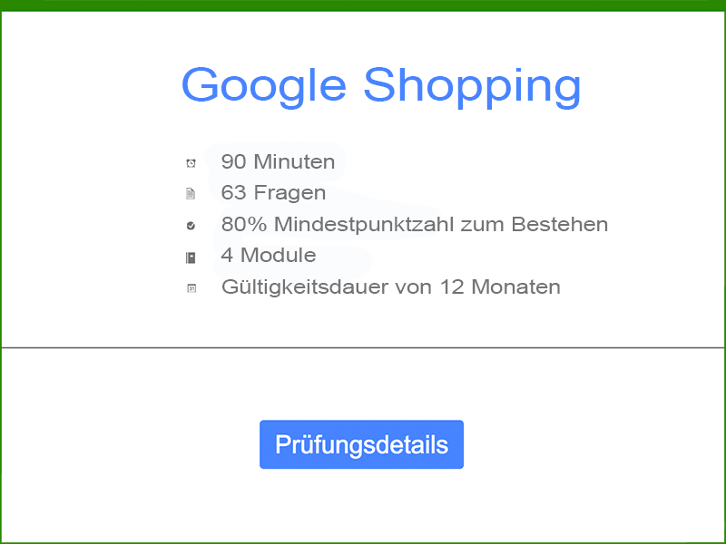 Google AdWords Google Shopping Prüfungsdetails