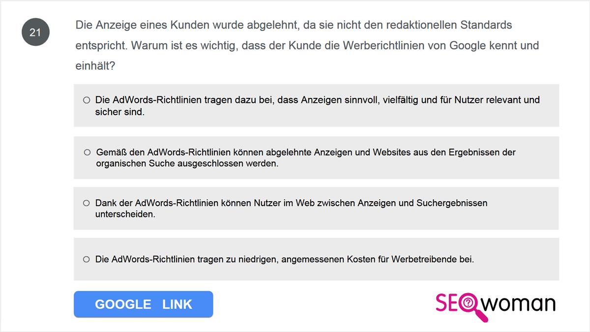 Die Anzeige eines Kunden wurde abgelehnt, da sie nicht den redaktionellen Standards entspricht. Warum ist es wichtig, dass der Kunde die Werberichtlinien von Google kennt und einhält?