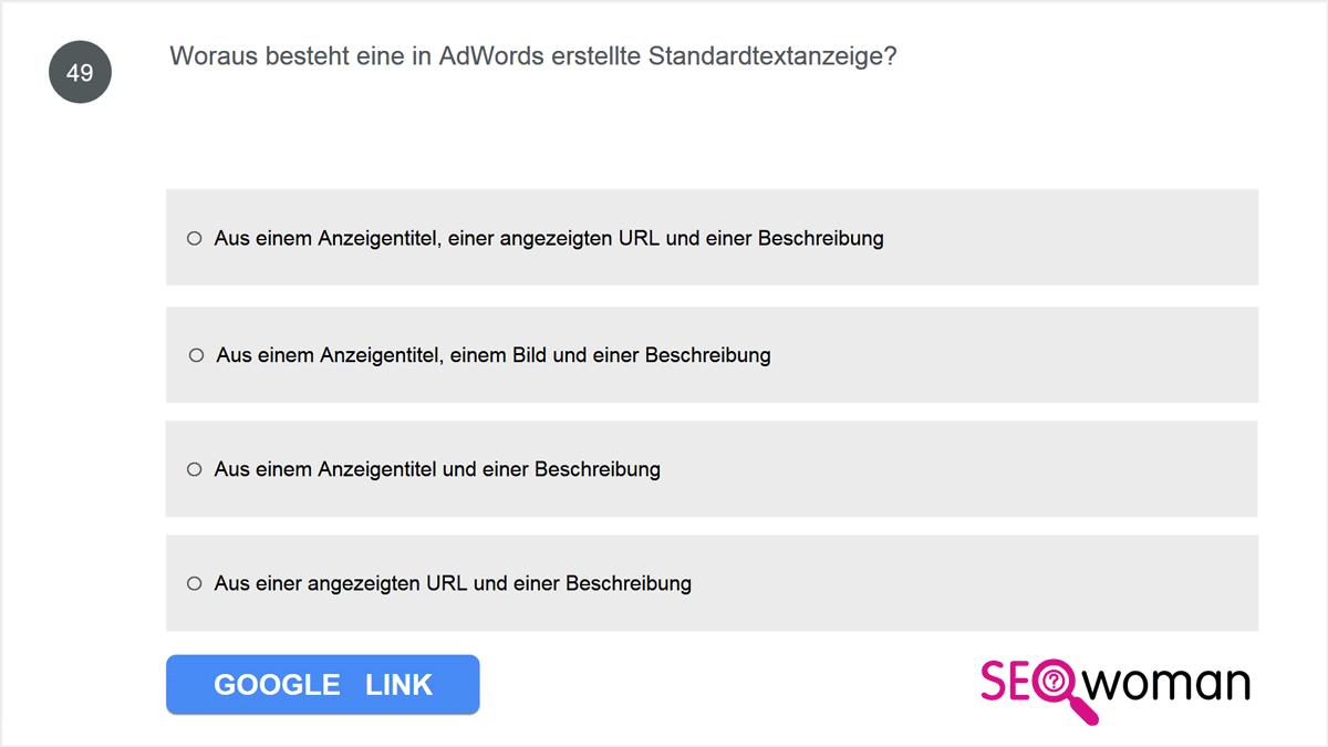 Woraus besteht eine in AdWords erstellte Standardtextanzeige?