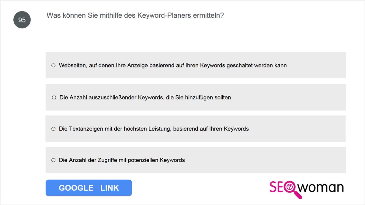 Was können Sie mithilfe des Keyword-Planers ermitteln?